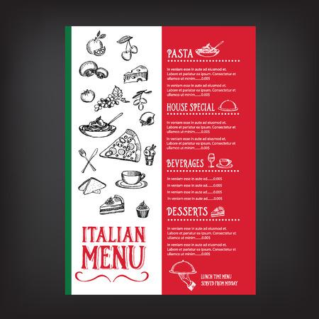 chef italiano: Men� de cafeter�a restaurante, ilustraci�n design.Vector plantilla.