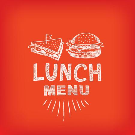 Lunch menu, restaurant design. Vector