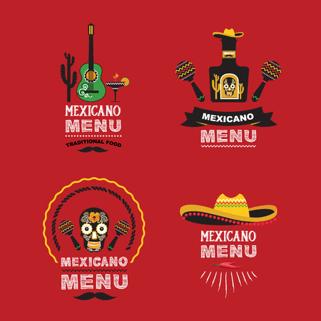 logo de comida: Menú ilustración design.Vector mexicano.