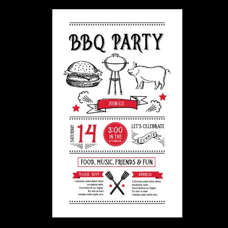 menu restaurant: Barbecue party invitation. BBQ brochure menu design.