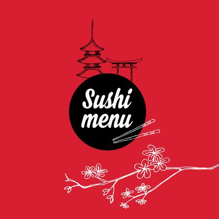 susi: Restaurant cafe menu, template design.Vector illustration. Illustration