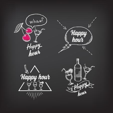 幸せな時間のパーティーの招待状。カクテル黒板バナー。