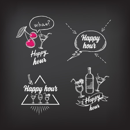 happy hour: Happy hour party invitation. Cocktail chalkboard banner.