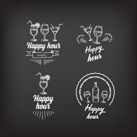 cocktail drinks: Happy hour party invitation. Cocktail chalkboard banner.