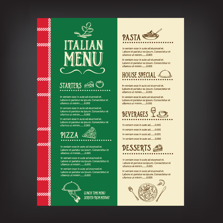 italian chef: Restaurant cafe menu, template design.Vector illustration. Illustration