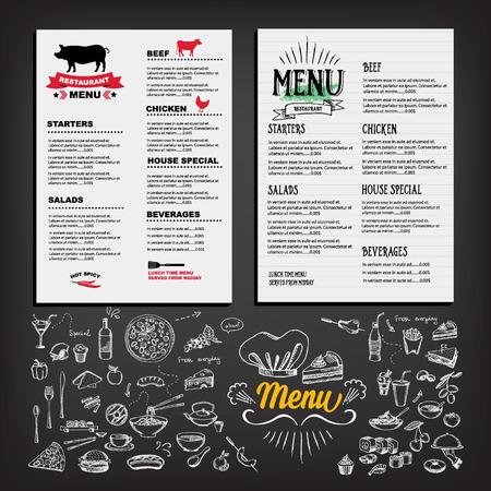 El menú de comida, diseño de plantilla de restaurante. Cafe Flyer. Vendimia Folleto