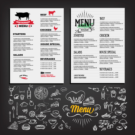 Food menu, restaurant template design. Flyer cafe. Brochure vintage Illustration