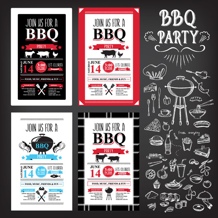 menu icon: Barbecue party invitation. BBQ template menu design Illustration