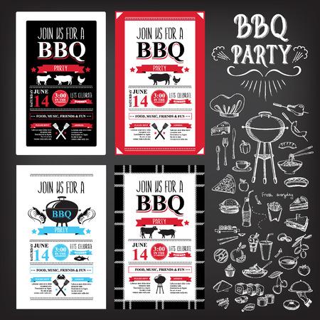 HAMBURGESA: Invitaci�n del partido de la barbacoa. Dise�o del men� plantilla BBQ