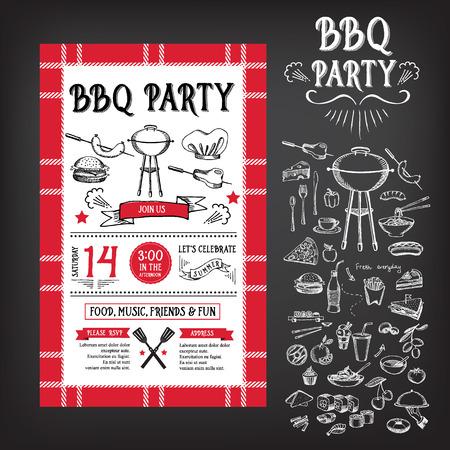 Barbecue party invitation. BBQ template menu design Illustration