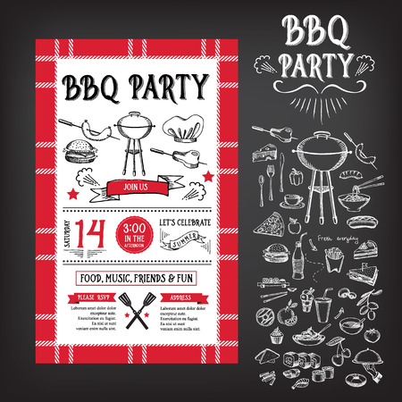 Barbecue party invitation. BBQ template menu design Illusztráció