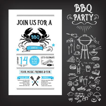 grilling: Barbecue party invitation. BBQ template menu design Illustration