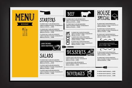 menu template: Restaurant cafe menu, template design. Food flyer. Illustration
