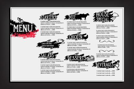 Restaurant cafe menu, template design. Food flyer. Vector