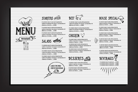menu restaurant: Restaurant cafe menu, template design