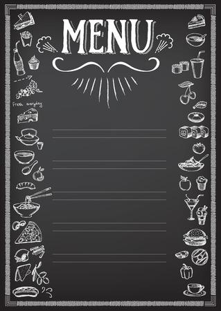 chalkboard menu: Food menu, restaurant template design