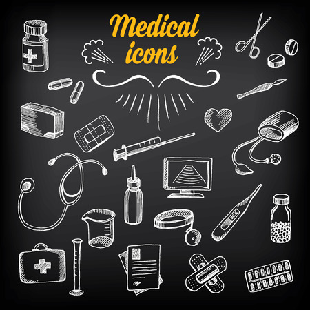 medical drawing: Medical icons, sketch design. Healthcare drawing chalkboard.