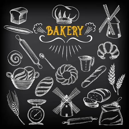 Brood en bakkerijproducten ontwerp Schets doodle
