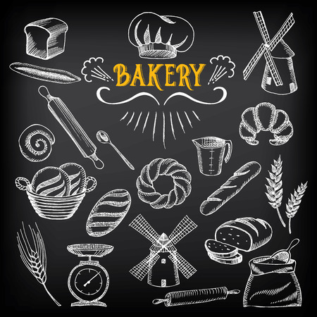 Bread and bakery design Sketch doodle Vectores