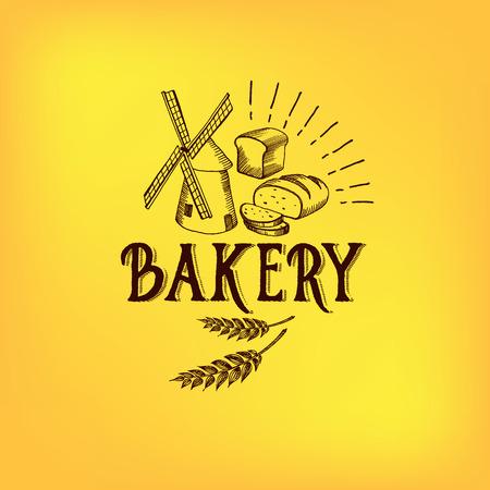 빵과 베이커리 디자인. 스케치, 기념일 로고