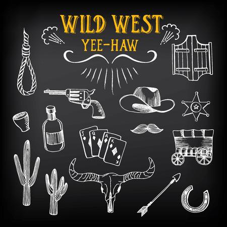 rodeo americano: Bosquejo del diseño del oeste salvaje. Iconos dibujo elementos del vintage.