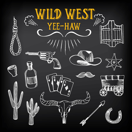 Wild west design sketch. Icons drawing vintage elements.