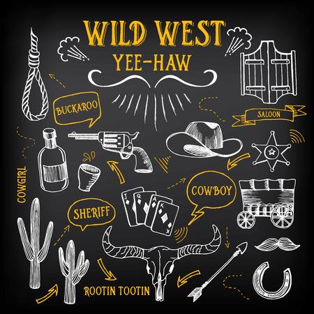 american rodeo: Bosquejo del diseño del oeste salvaje. Iconos dibujo elementos del vintage.
