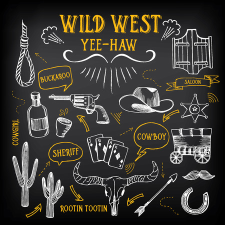 western: Wild west design sketch. Icons drawing vintage elements.