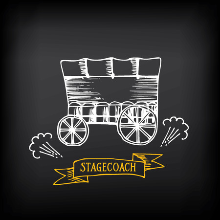 covered wagon: Stagecoach, covered wagon. Sketch design.