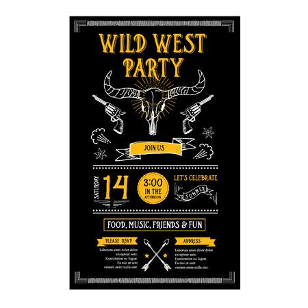 vaquero: Invitación salvaje oeste aviador del partido. Tipografía y diseño. Vectores