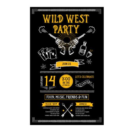 Uitnodiging wilde westen partij flyer. Typografie en vormgeving. Stock Illustratie