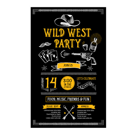 western clothing: Invitation wild west party flyer. Typography  and design. Illustration