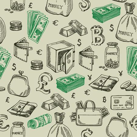 Money falling seamless pattern.