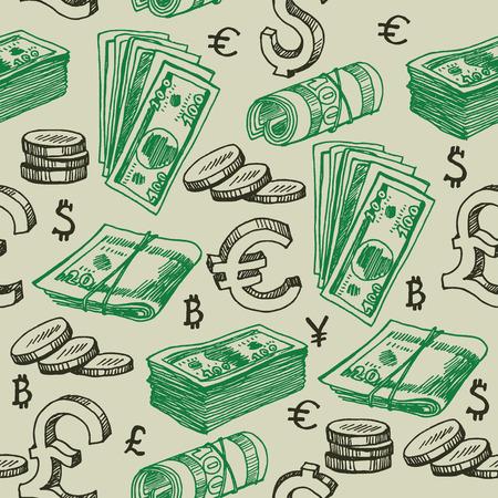 money falling: Money falling seamless pattern.