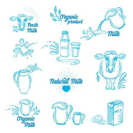 mleka: Mleko naturalne z odpryskami, ikony designu. Zdrowy produkt.