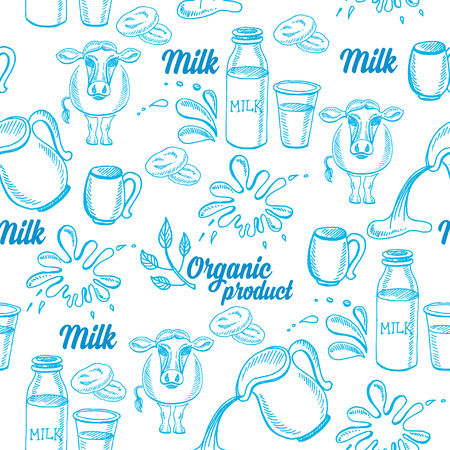 Natural milk with splashes, seamless pattern design. Illustration