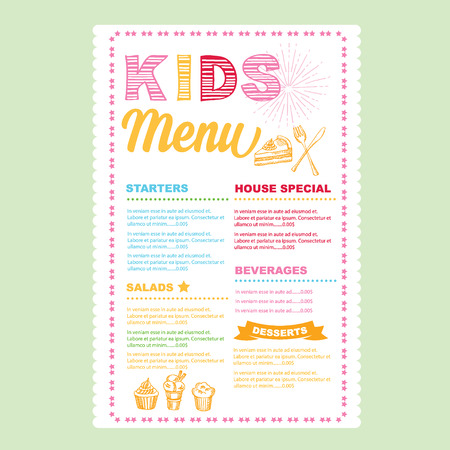 cartoon menu: Kids menu template.