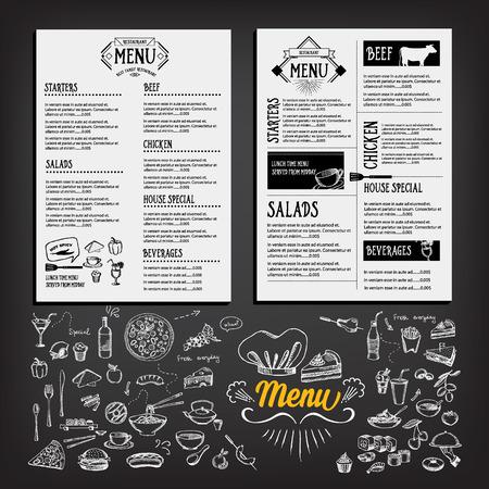 음식 메뉴, 레스토랑 템플릿 디자인 일러스트