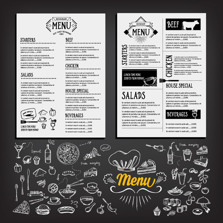 colazione: Il menu del cibo, il design ristorante template Vettoriali