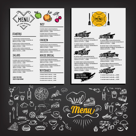 Food menu, restaurant template design