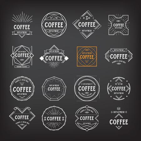Coffee menu template vintage geometric badge Vector