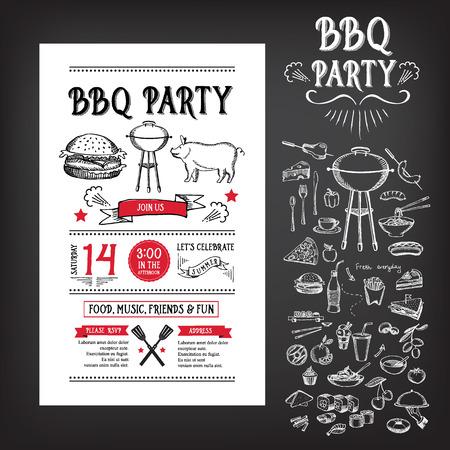 Barbecue-Party Einladung. BBQ Vorlage Menü-Design Standard-Bild - 38634505