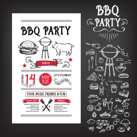 party flyer background: Barbecue party invitation. BBQ template menu design Illustration