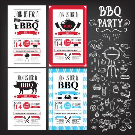 Invitación del partido de la barbacoa. Diseño del menú plantilla BBQ Ilustración de vector