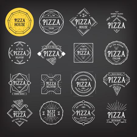logo de comida: Pizza icono de restaurante. Diseño de credenciales.