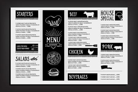 vintage newspaper: Restaurant cafe menu, template design. Food flyer. Illustration