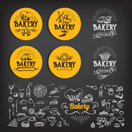Diseño de iconos de la panadería. Menú de la vendimia insignia. Foto de archivo - 40081454