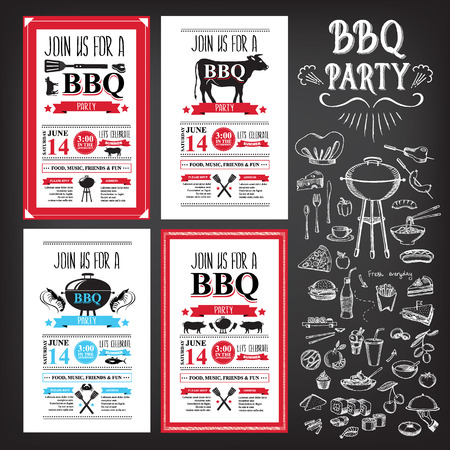 flyer party: Barbecue party invitation. BBQ template menu design. Food flyer.