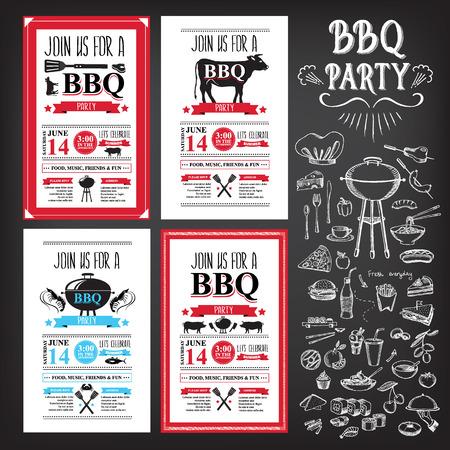 Fiesta: Invitaci�n del partido de la barbacoa. Plantilla barbacoa dise�o del men�. Folleto de Alimentos.