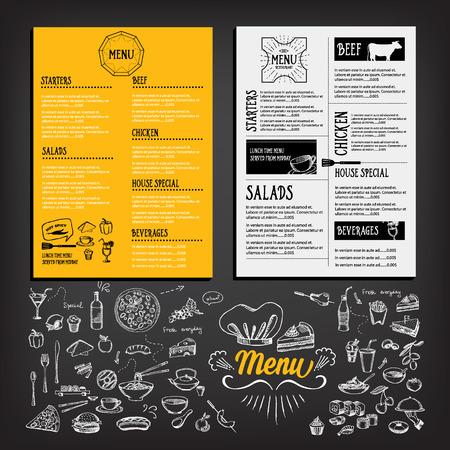 pizza chef: Restaurant cafe menu, template design. Food flyer. Illustration